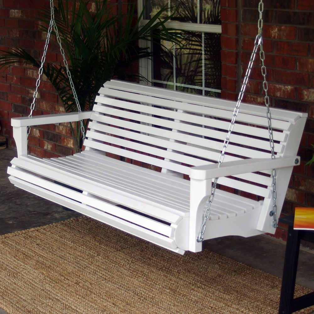 Classic Porch Swings Within 2020 Tmp Outdoor Furniture Contoured Classic White Porch Swing In (View 6 of 25)