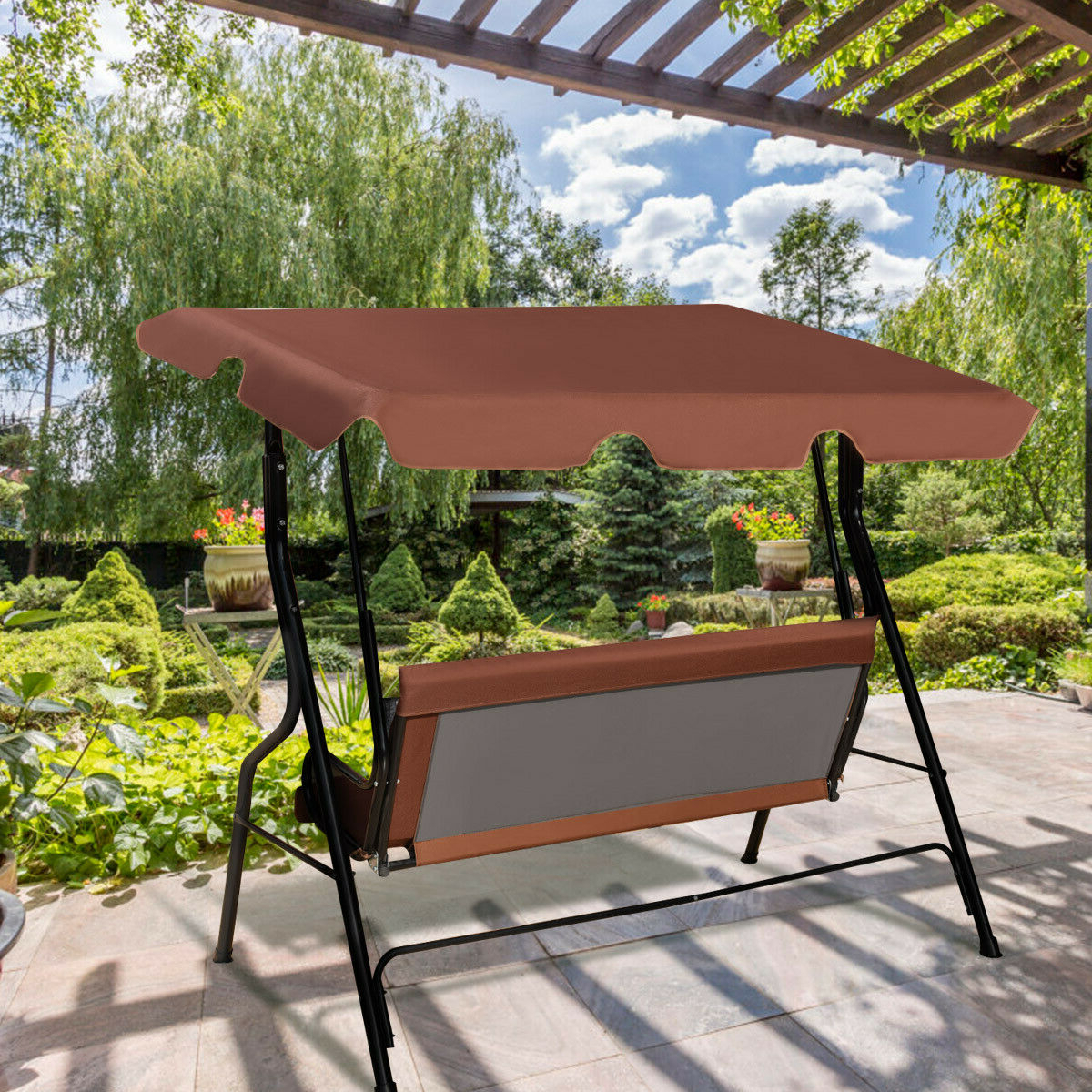 Costway 3 Seats Patio Canopy Swing Glider Hammock Cushioned Steel Frame Backyar Coffee Intended For 2020 3 Seats Patio Canopy Swing Gliders Hammock Cushioned Steel Frame (View 5 of 25)