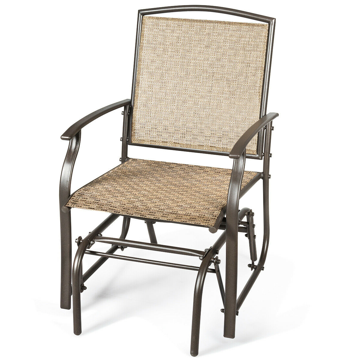 Costway Patio Swing Single Glider Chair Rocking Seating Steel Frame Garden Furni Brown With Regard To Recent Outdoor Swing Glider Chairs With Powder Coated Steel Frame (View 8 of 25)