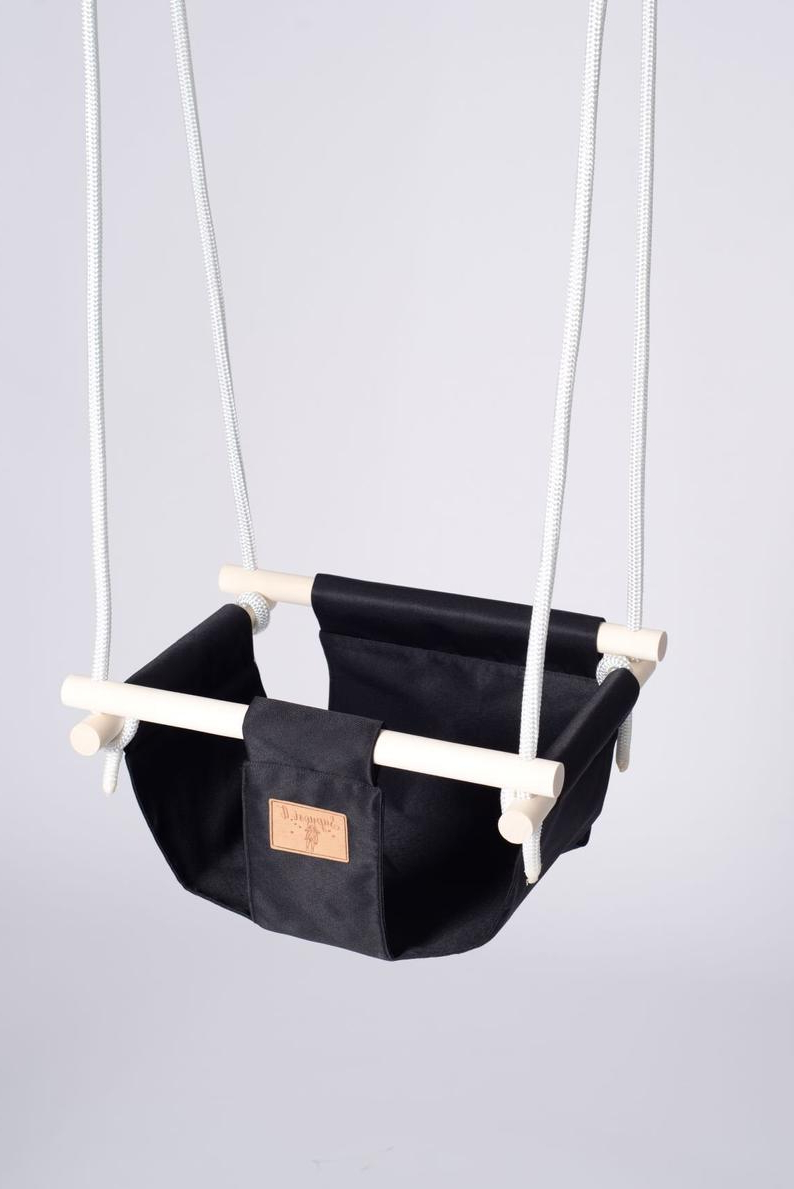 Cotton Porch Swings Inside Most Recent Baby Swing Chair Black Hanging Chair Cotton Toddler Swing Wooden Outdoor Swing Porch Swing For Kids Toddler Gift Indoor Swing (View 17 of 25)