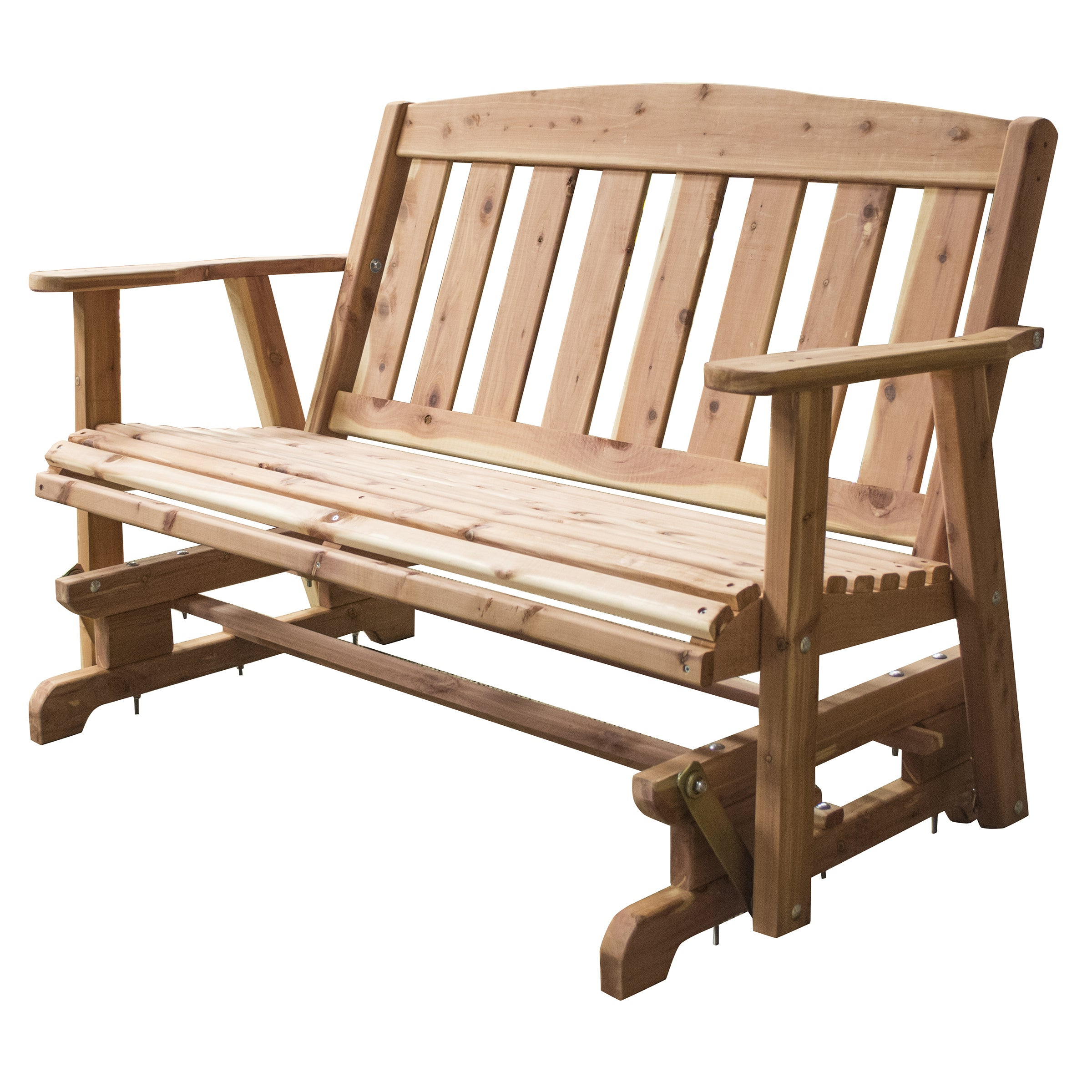 Current 2 Person Natural Cedar Wood Outdoor Gliders Within Amerihome Amish Made Glider Bench – Brown (View 5 of 25)