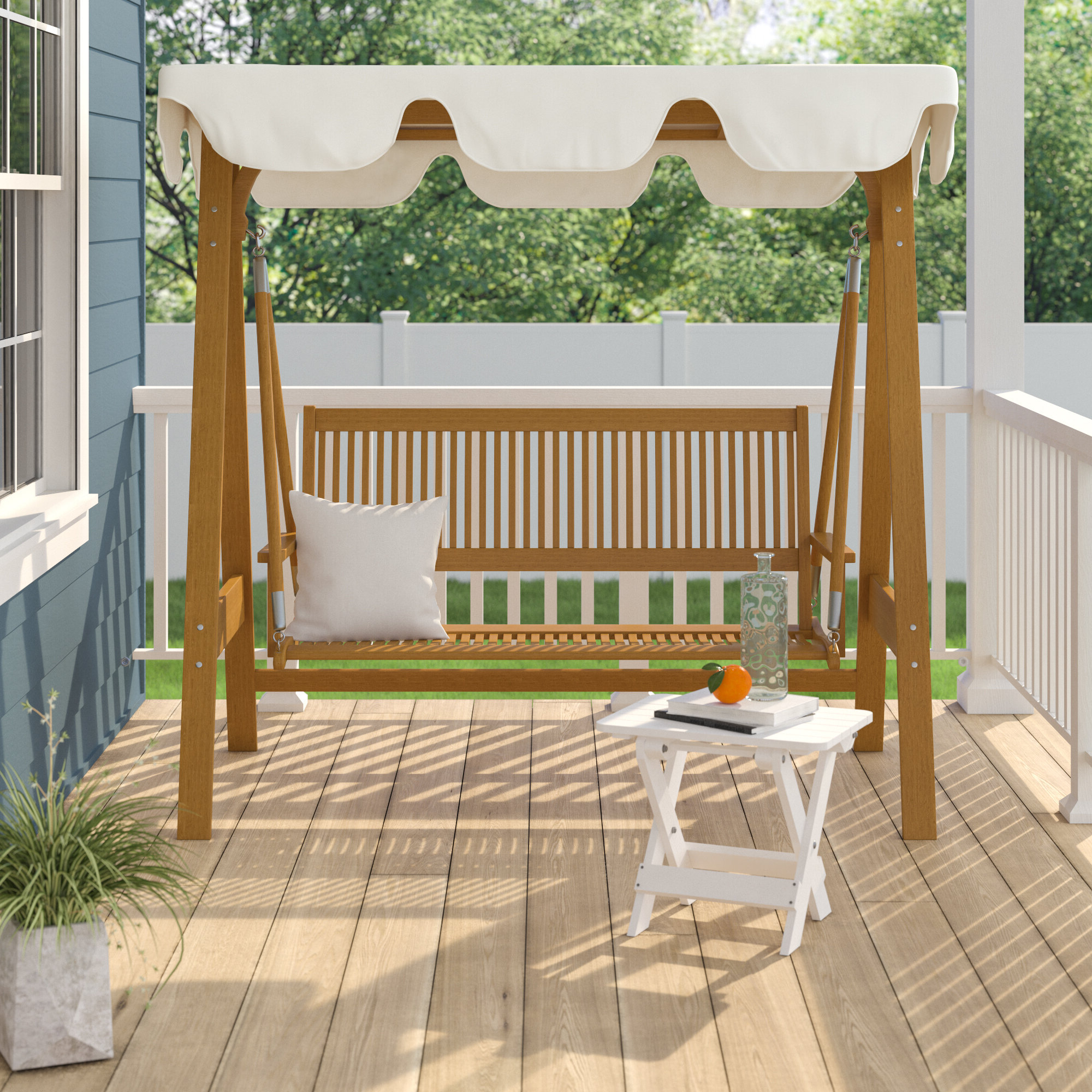 Current 3 Seats Patio Canopy Swing Gliders Hammock Cushioned Steel Frame Intended For Breakwater Bay Sabbattus 3 Seater Balau Swing With Frame And (View 23 of 25)