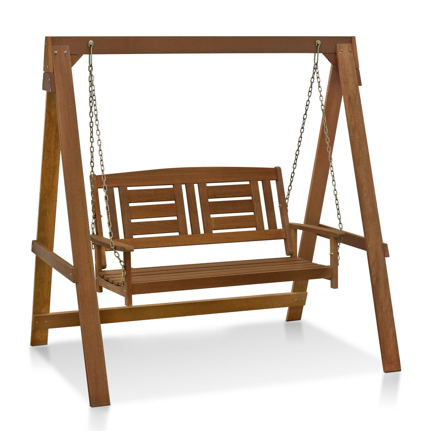 Current Furinno Tioman Hardwood Hanging Porch Swing With Stand, Brown For 2 Person Light Teak Oil Wood Outdoor Swings (View 3 of 25)