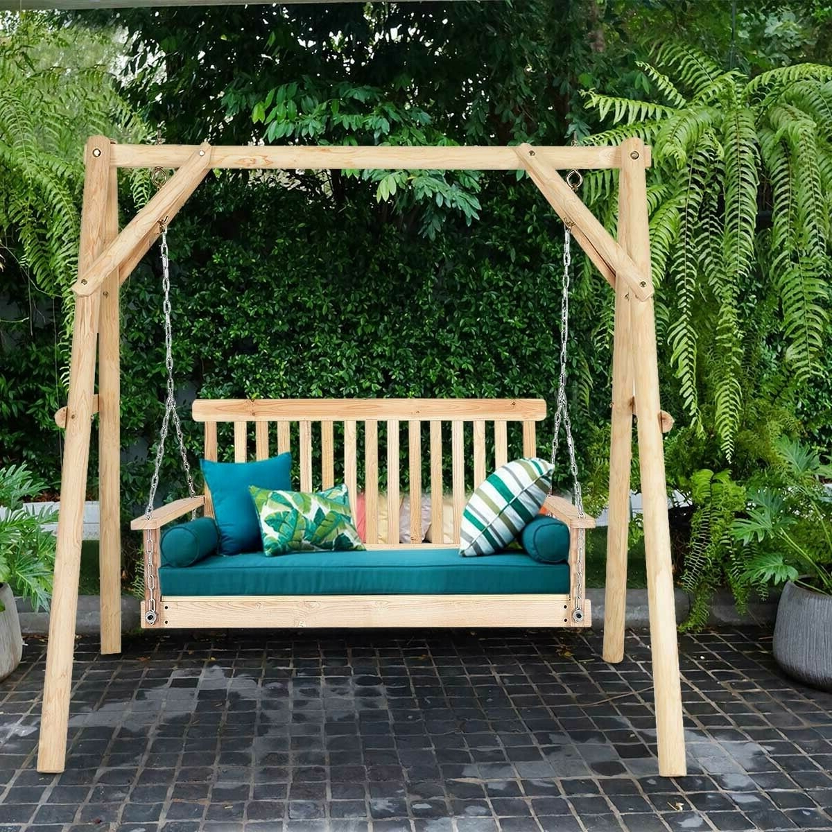 Current Outdoor Porch Swings With Details About 4' Porch Swing Patio Outdoor Hanging Seat Garden Chains Bench Wooden Furniture (View 20 of 25)