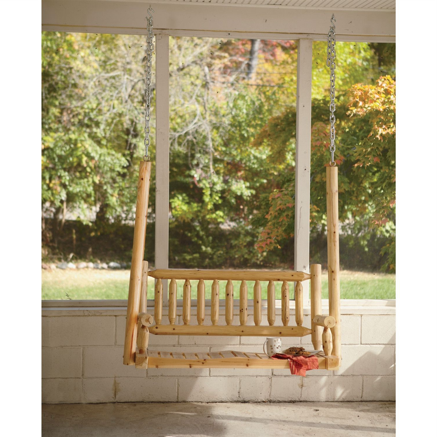 Current Outdoor Rustic Cedar Log Wood Porch Swing (View 12 of 25)
