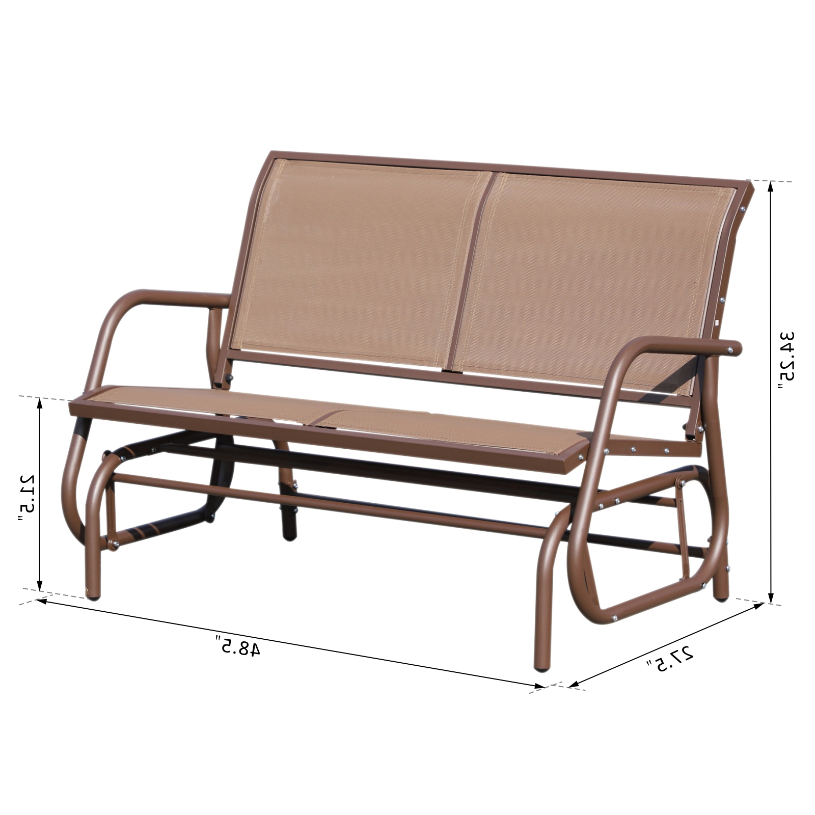Current Outsunny Patio Double Glider Outdoor Steel Sling Fabric Bench Swing Chair R Heavy Duty Porch Rocker Garden Loveseat Brown For Rocking Love Seats Glider Swing Benches With Sturdy Frame (View 21 of 25)