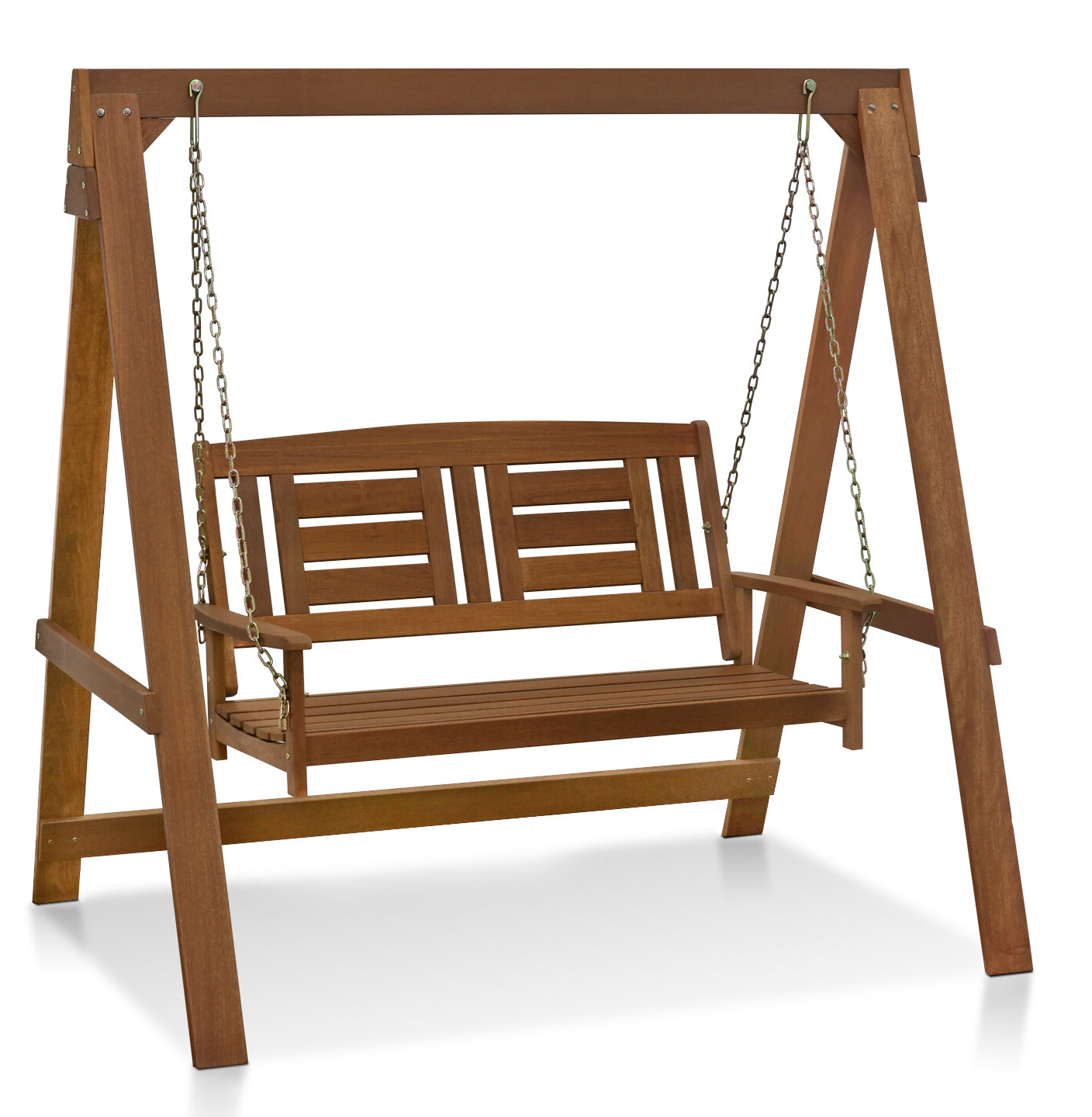 Current Rosean Porch Swings Regarding Arianna Hardwood Hanging Porch Swing With Stand (View 8 of 25)