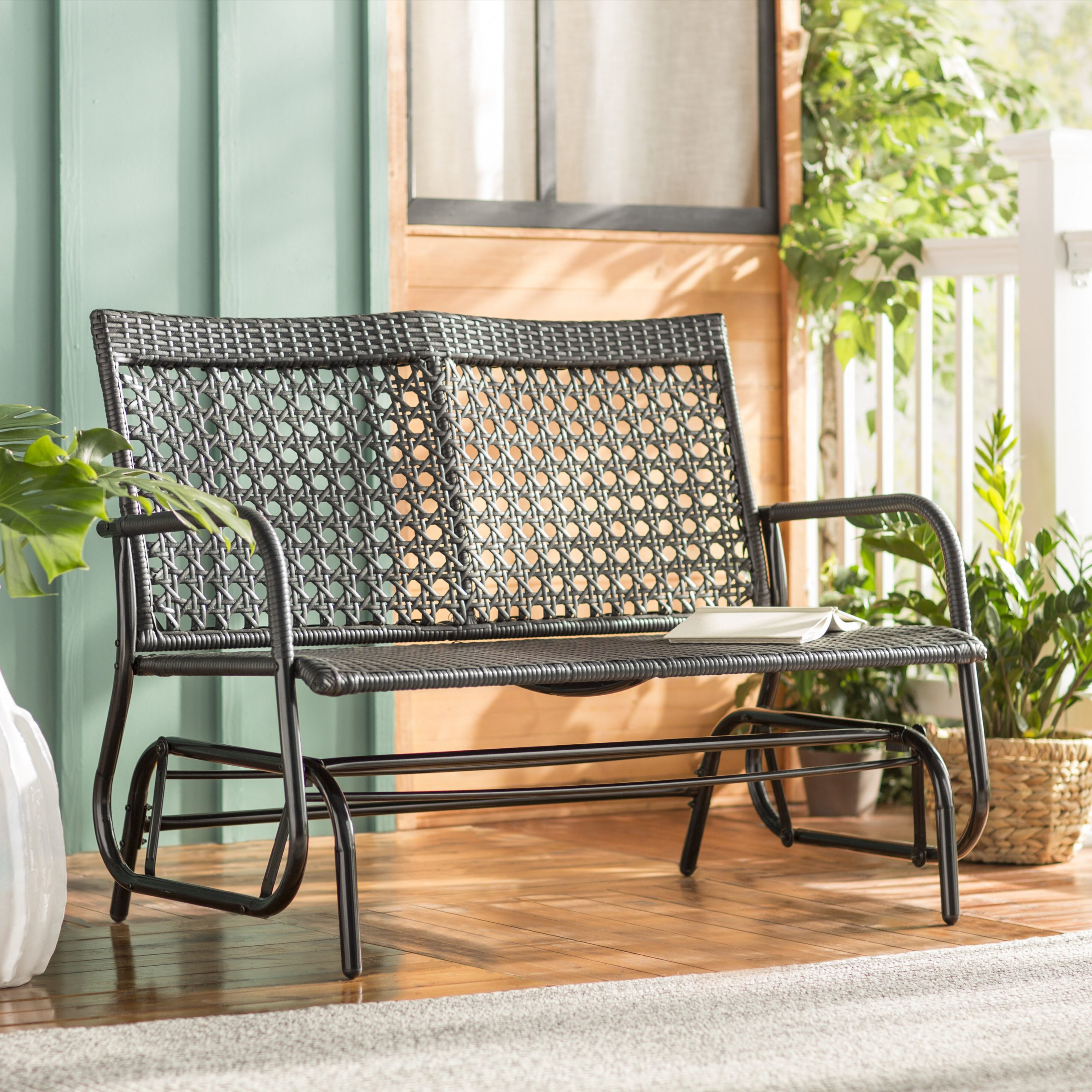 Current Shupe Steel Rattan Outdoor Patio Double Glider Bench Within Outdoor Steel Patio Swing Glider Benches (View 18 of 25)