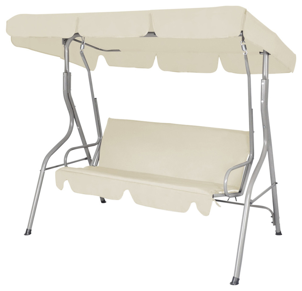 Current Vidaxl Patio 3 Person Canopy Swing Glider Hammock Backyard Outdoor White For 3 Seats Patio Canopy Swing Gliders Hammock Cushioned Steel Frame (View 10 of 25)