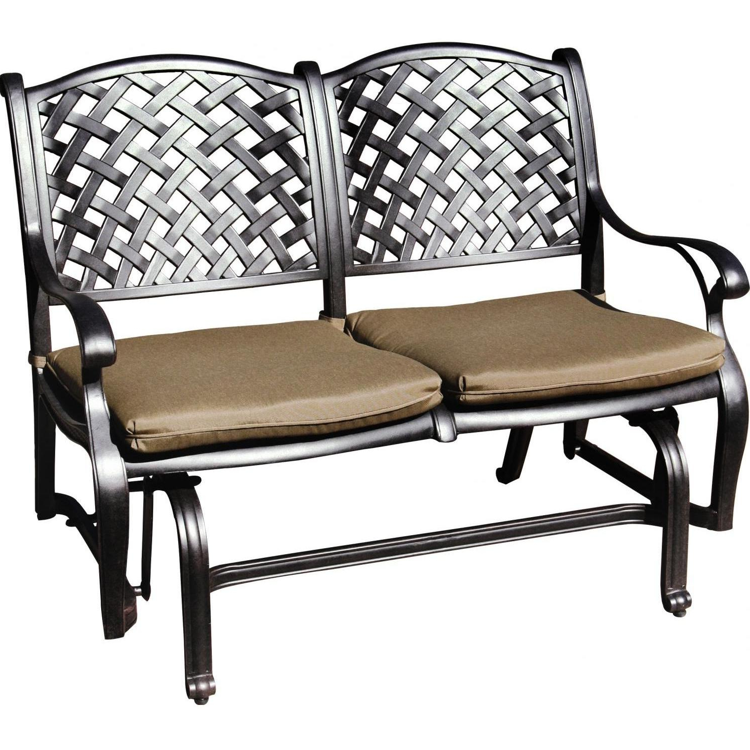 Darlee Nassau Cast Aluminum Patio Bench Glider Pertaining To Newest 1 Person Antique Black Steel Outdoor Gliders (View 5 of 25)