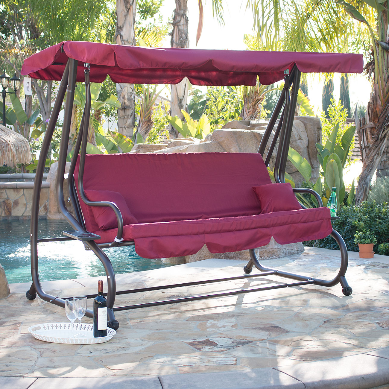 Details About Outdoor Swing / Bed Patio Adjustable Canopy Deck Porch Seat Chair W/ (2) Pillow For Well Known Canopy Patio Porch Swings With Pillows And Cup Holders (View 4 of 25)