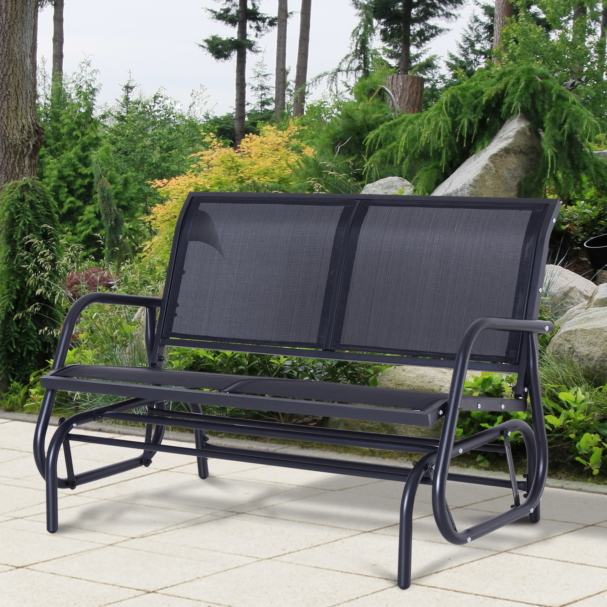 Details About Outsunny Patio Garden Glider Bench 2 Person Double Swing Chair Rocker Deck Black With Fashionable Steel Patio Swing Glider Benches (View 3 of 25)