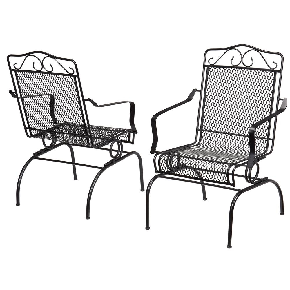 Details About Rocking Metal Outdoor Dining Chair Steel Frame Durable Weather Resistant Black In Most Up To Date Outdoor Swing Glider Chairs With Powder Coated Steel Frame (Gallery 12 of 25)