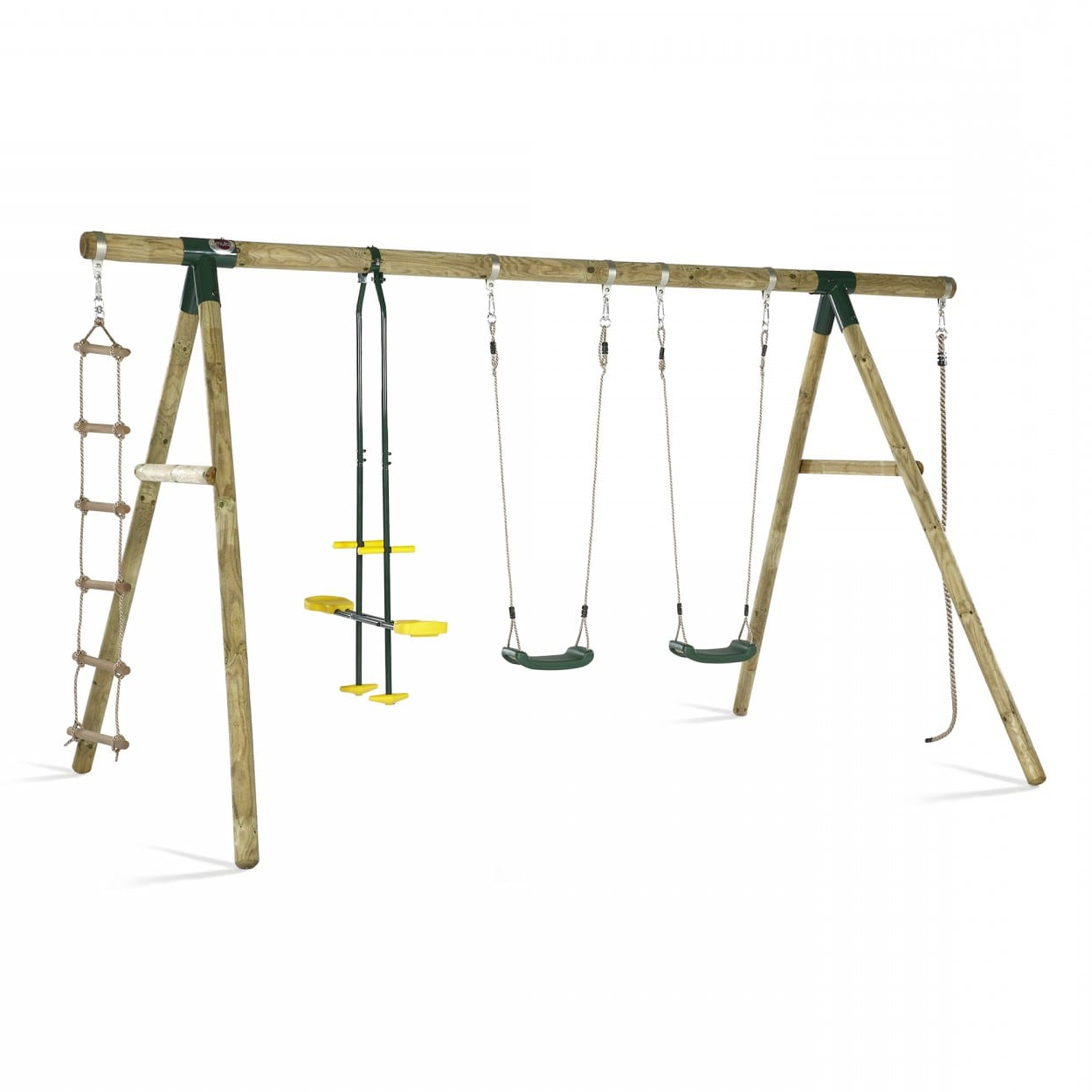 Dual Rider Glider Swings With Soft Touch Rope Regarding Most Popular Plum® Orang Utan® Wooden Garden Swing Set (View 5 of 25)