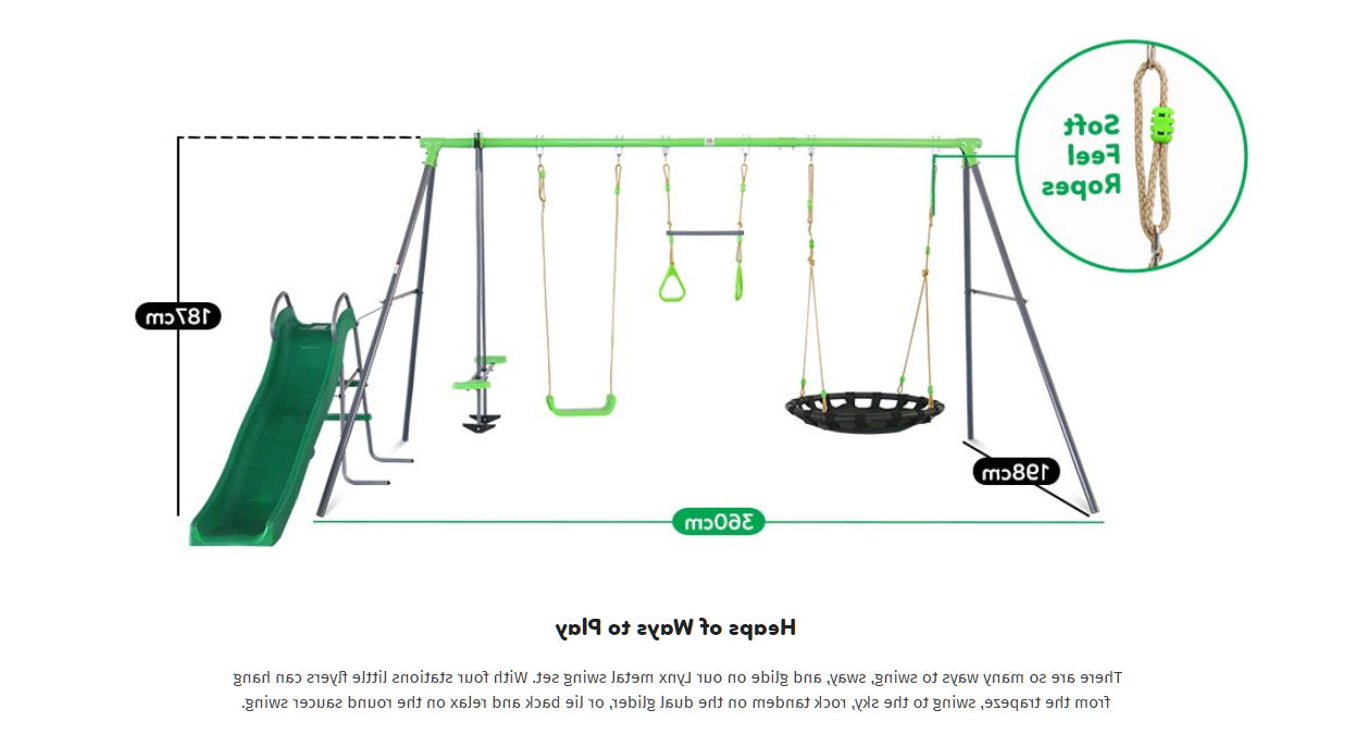 Dual Rider Glider Swings With Soft Touch Rope Throughout Most Recent Lynx Metal Swing Set With Slide (View 6 of 25)
