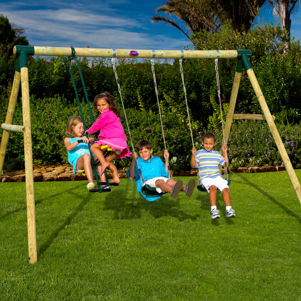 Dual Rider Glider Swings With Soft Touch Rope With Well Liked Colobus Wooden Pole Swing Set With Free Protektamats – Pack Of  (View 9 of 25)