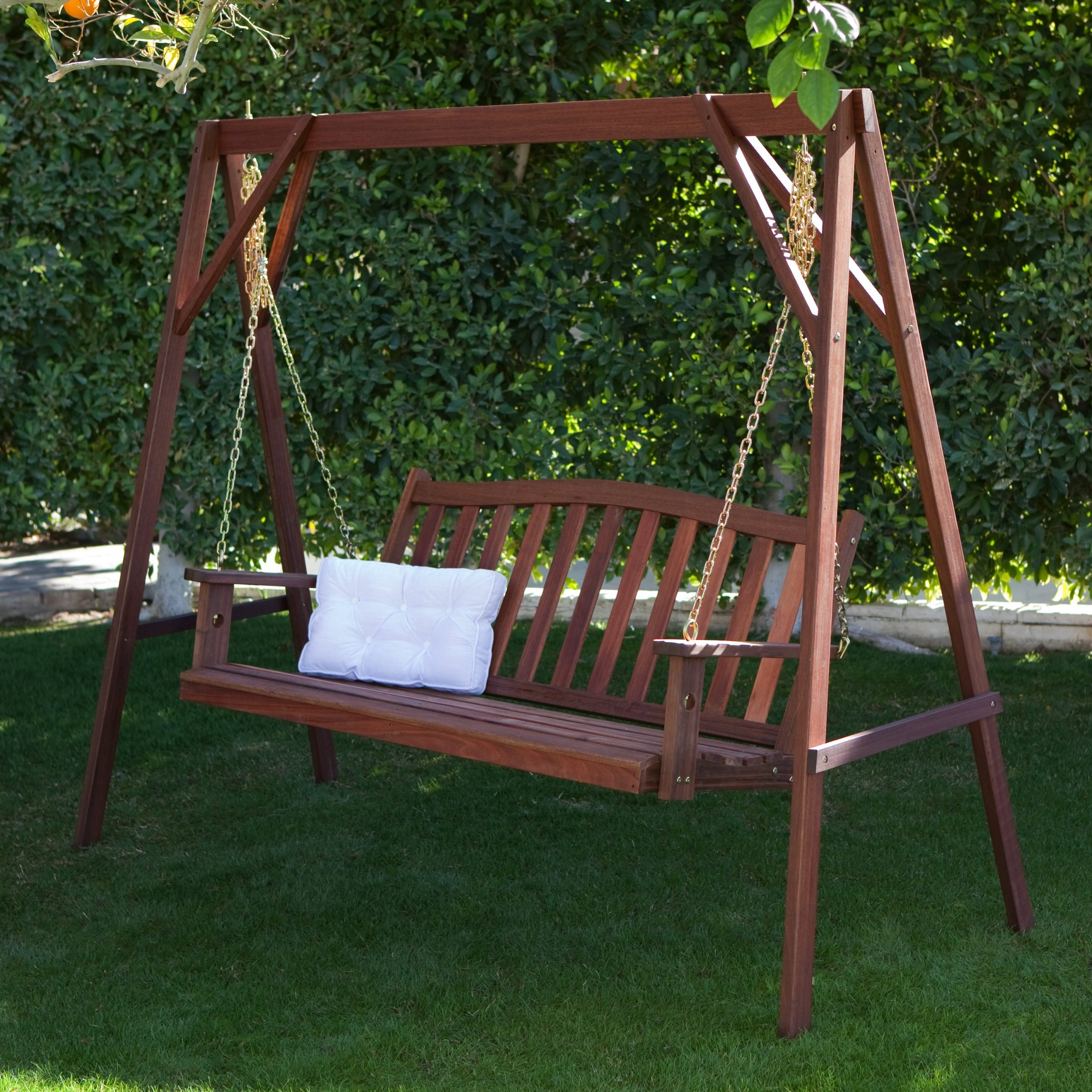 Famous Belham Living Richmond Curve Back Porch Swing & Stand Set – Walmart Pertaining To Patio Porch Swings With Stand (View 15 of 25)