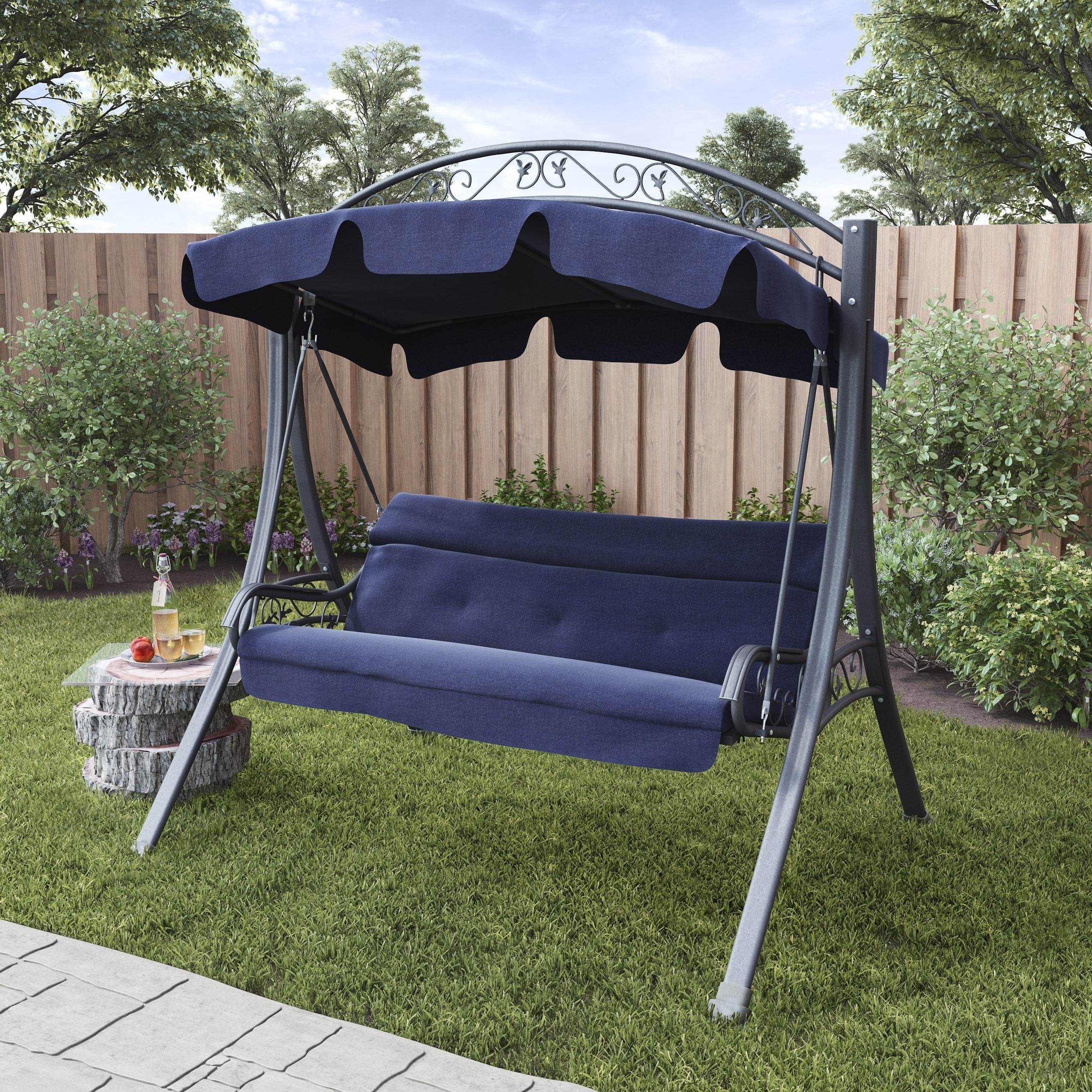 Famous Canopy Patio Porch Swings With Pillows And Cup Holders With Corliving Nantucket Patio Swing With Arched Canopy (View 7 of 25)