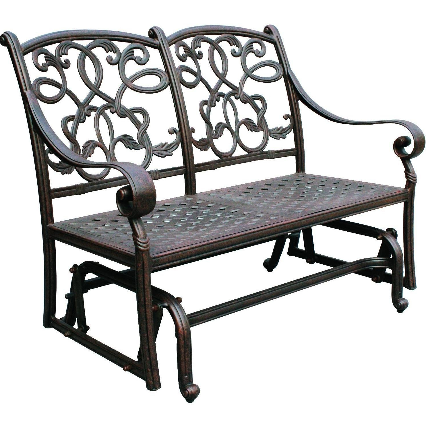 Famous Darlee Santa Monica Cast Aluminum Patio Loveseat Glider Intended For 1 Person Antique Black Steel Outdoor Gliders (View 10 of 25)