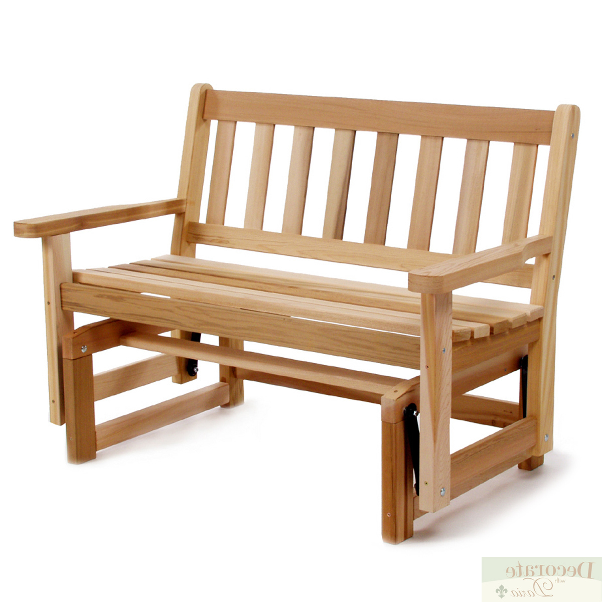 """Famous Details About Glider Bench Motion 48"""" Red Cedar Handcrafted Curved Seat Shaker Style Back New Throughout 2 Person Natural Cedar Wood Outdoor Gliders (View 20 of 25)"""