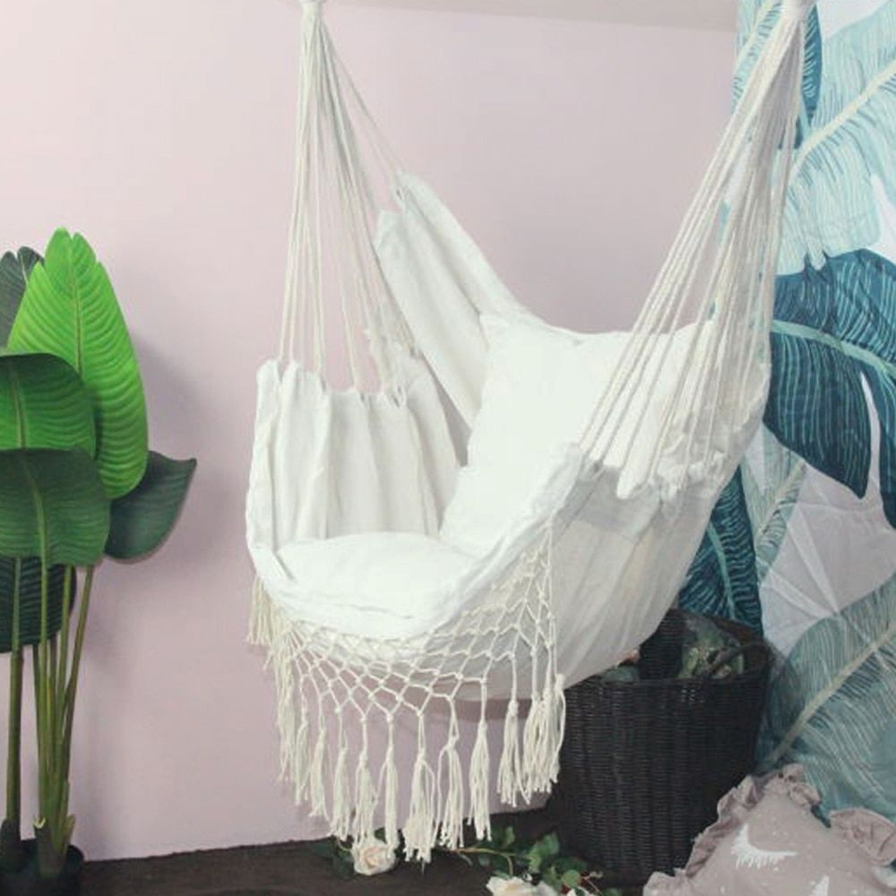 Famous Hanging Rope Hammock Chair Porch Swing Seat, Large Hammock With Cotton Porch Swings (View 4 of 25)