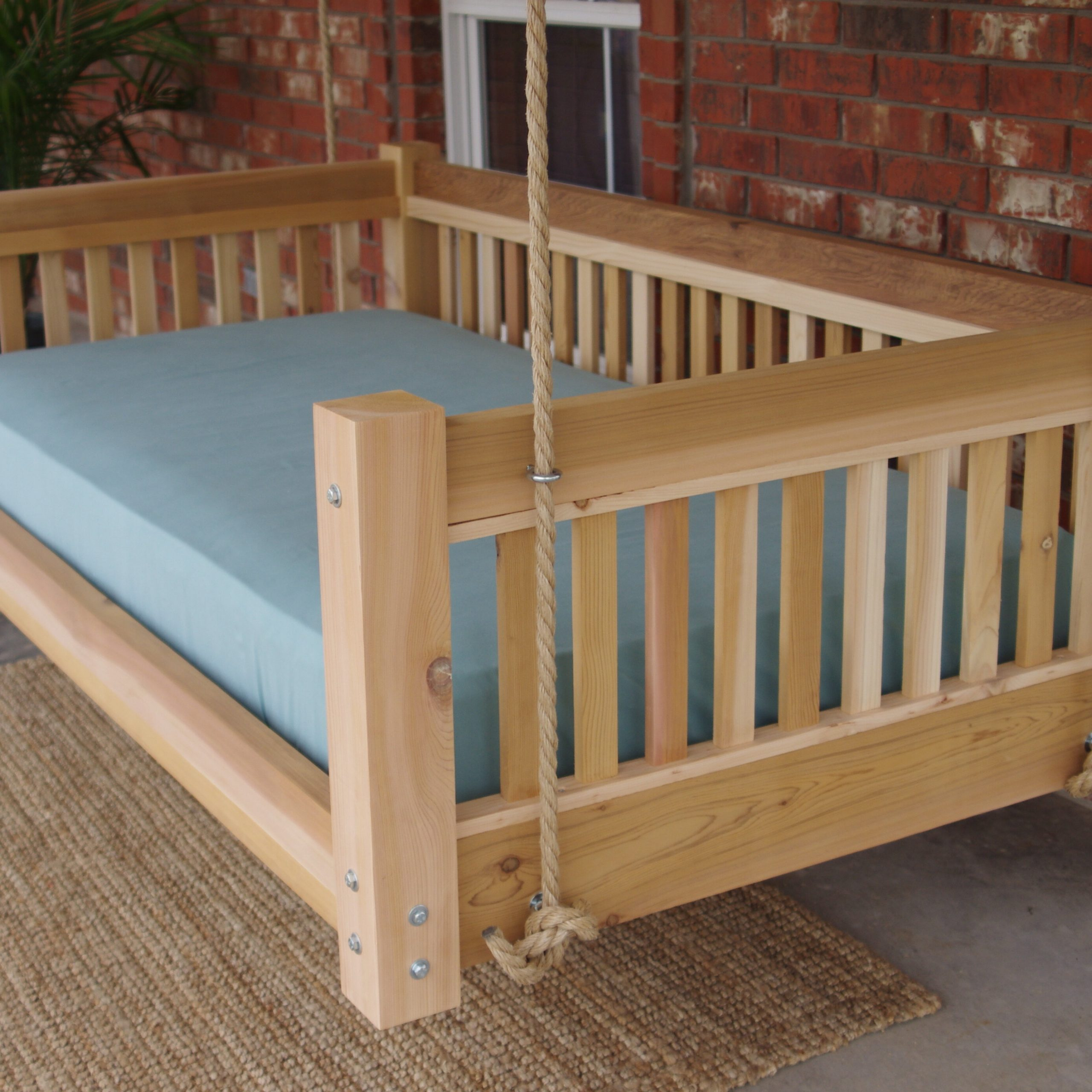 Famous Longbridge Cedar Hanging Daybed Rope Porch Swing Within Day Bed Porch Swings (View 11 of 25)