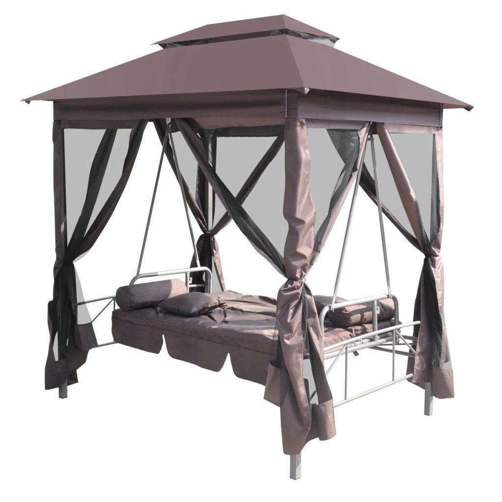 Famous Vidaxl Gazebo Swing Chair Garden Outdoor Patio Porch Seat Hammock Relaxer Tent Pertaining To Patio Gazebo Porch Canopy Swings (View 17 of 25)