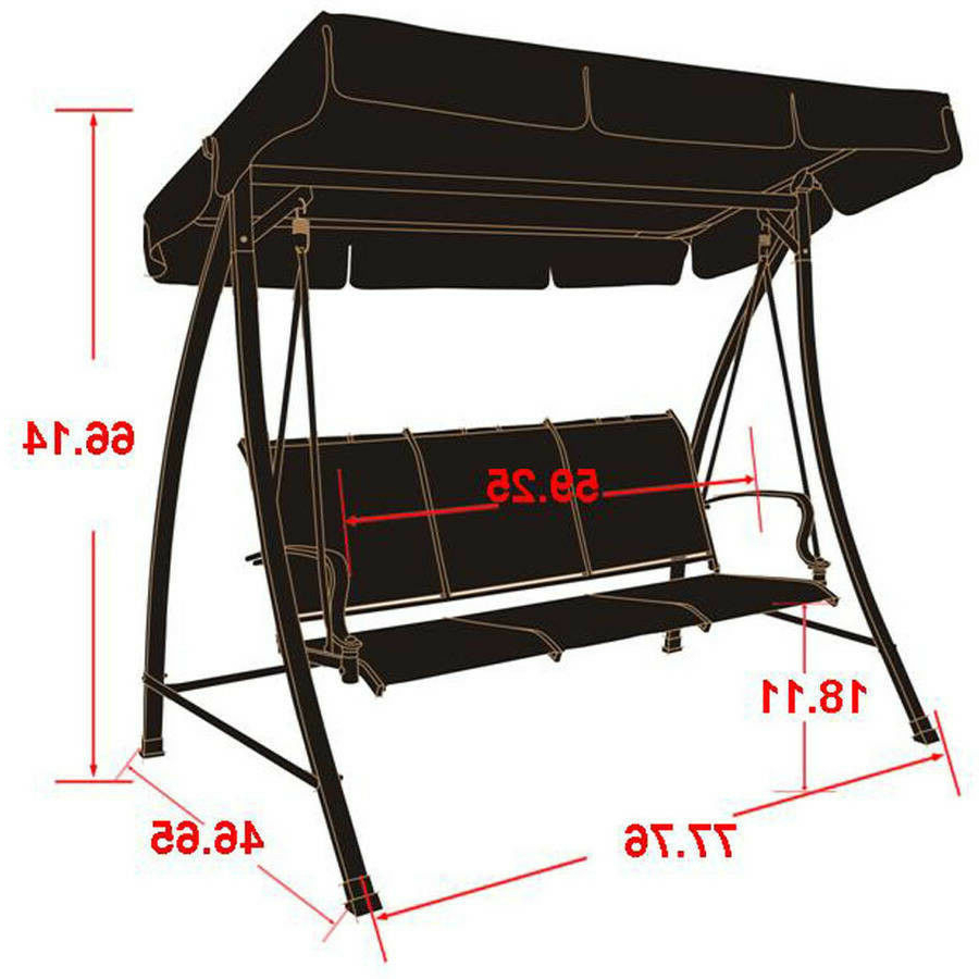 Fashionable 3 Person Brown Steel Outdoor Swings With Regard To Patio Swing With Canopy 3 Person Seats Outdoor Furniture Backyard Metal Brown (View 14 of 25)
