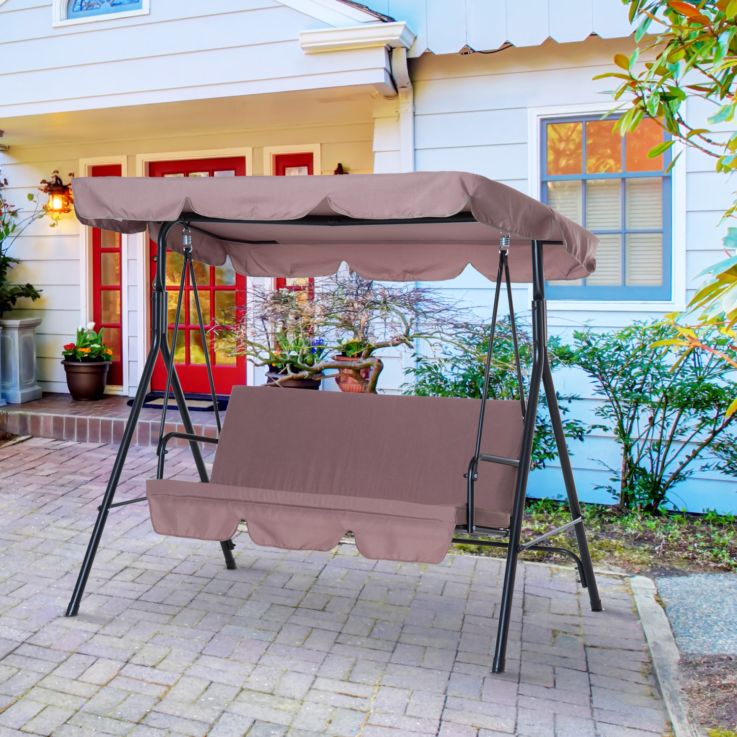 Fashionable 3 Seats Patio Canopy Swing Gliders Hammock Cushioned Steel Frame Within Cad $ (View 7 of 25)