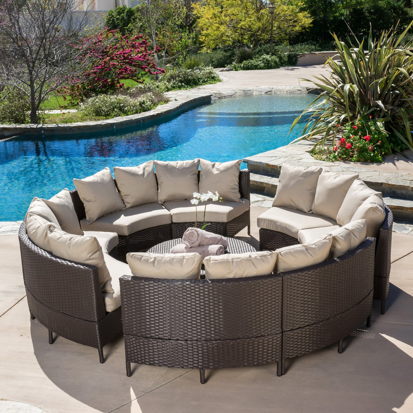 Fashionable Avalon Wicker 10 Piece Patio Conversation Set With Cushions – Walmart Intended For Outdoor Wicker Plastic Half Moon Leaf Shape Porch Swings (View 5 of 25)