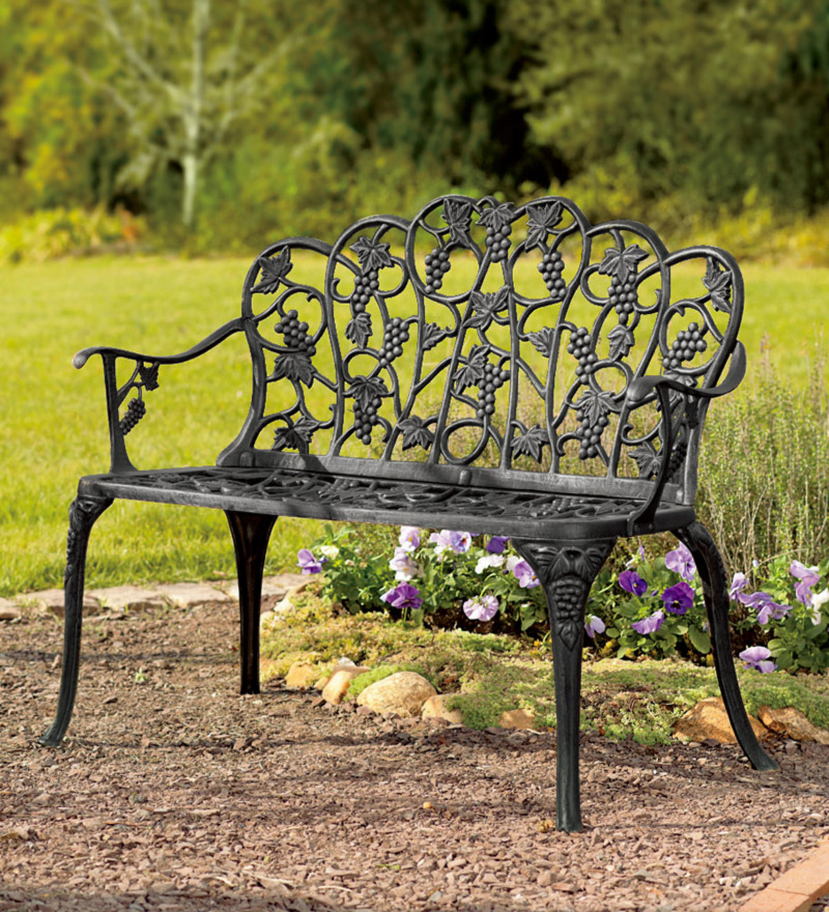 Fashionable Black Steel Patio Swing Glider Benches Powder Coated For Grapevine Garden Bench In Powder Coated Aluminum (View 12 of 25)