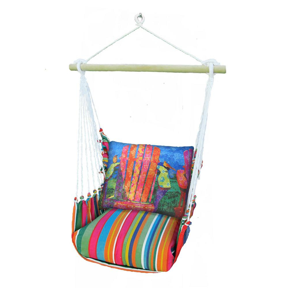 Fashionable Cotton Porch Swings Regarding 3 Piece Wood Polyester Cushioned Porch Swing With Colorful Chair Print Back Pillow (View 6 of 25)