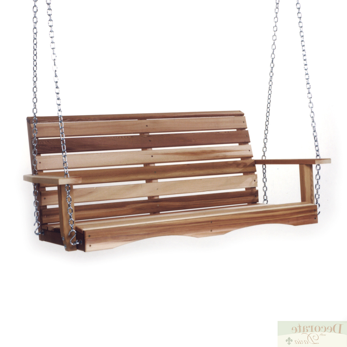 Fashionable Details About Porch Swing 4 Ft Red Cedar Crafted W/mounting Chain Kit Contoured Back Slats New For Porch Swings With Chain (View 6 of 26)