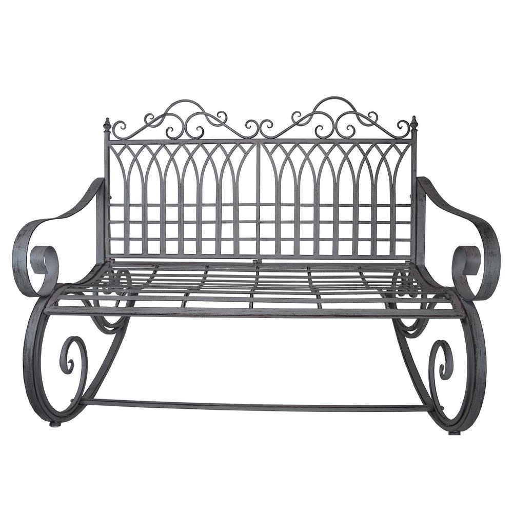 Fashionable Ornate Traditional Iron And Steel Outdoor Patio Porch Garden Rocking Bench Loveseat In Antique Grey With Regard To 1 Person Antique Black Steel Outdoor Gliders (View 13 of 25)