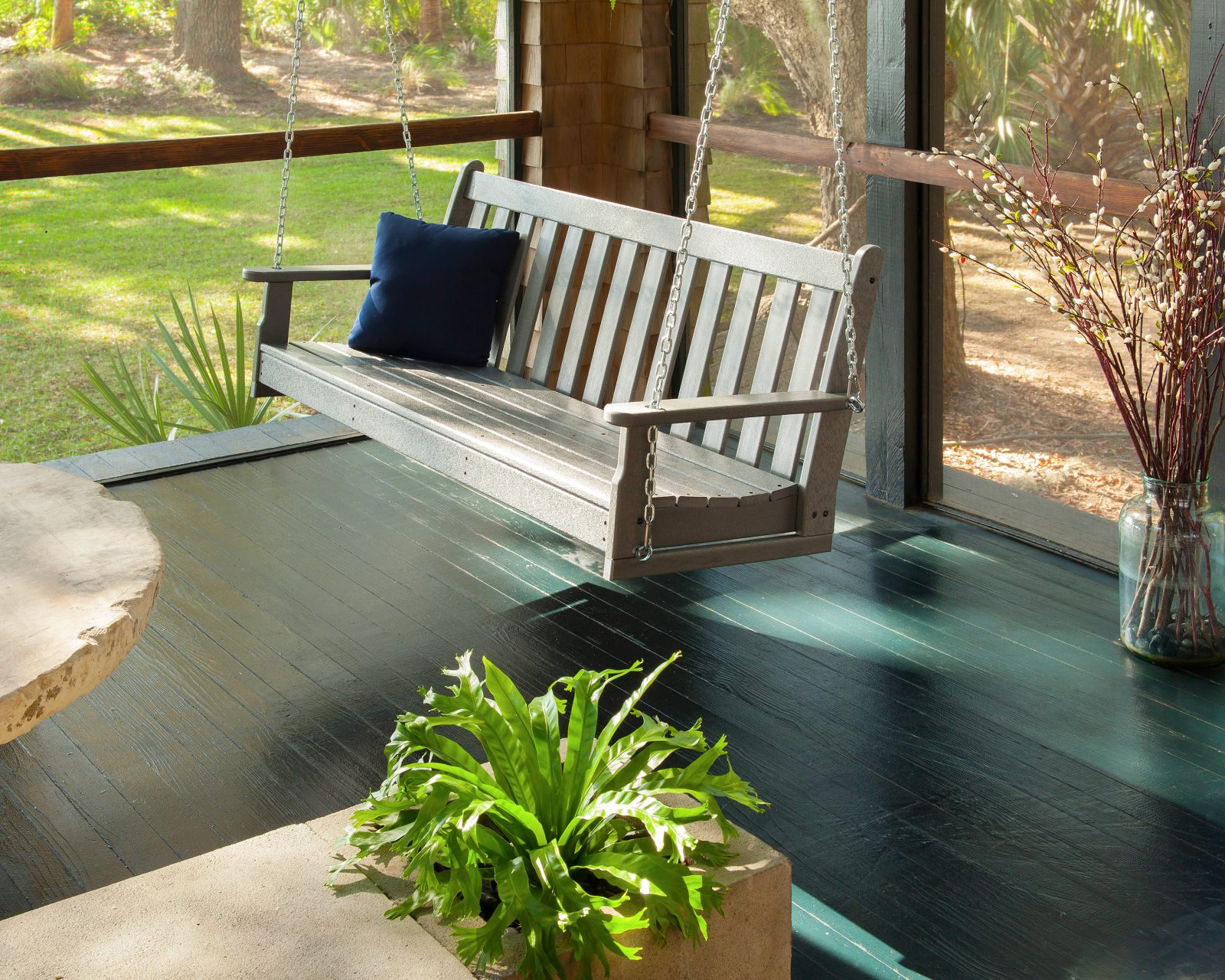 Fashionable Polywood Gns60Bl Vineyard 60 Swing Black Patio, Lawn Throughout Vineyard Porch Swings (View 15 of 25)