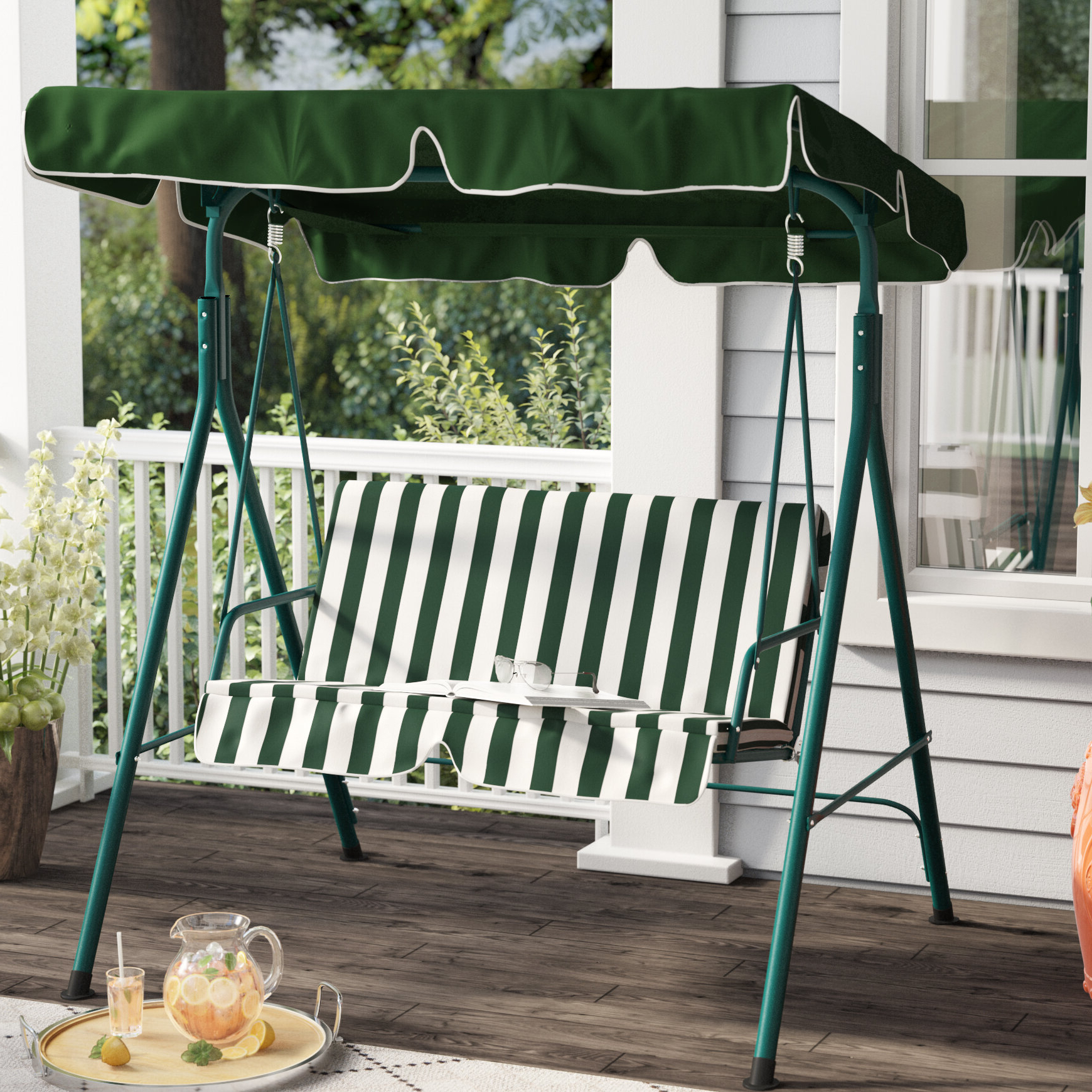 Fashionable Proothi Patio Loveseat Canopy Hammock Porch Swing With Stand With 2 Person Hammock Porch Swing Patio Outdoor Hanging Loveseat Canopy Glider Swings (View 22 of 25)