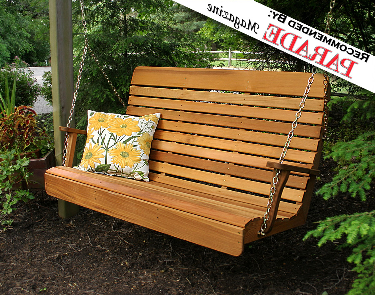 Fashionable Red Cedar Royal Highback Porch Swing Within Lamp Outdoor Porch Swings (View 10 of 25)