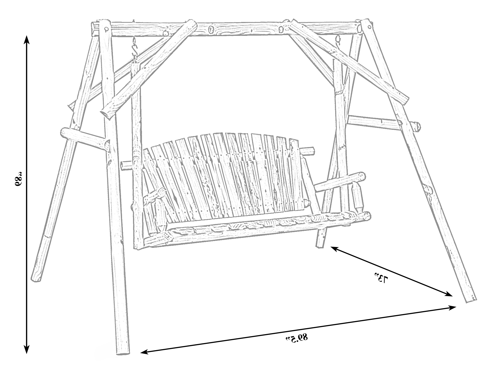 Fashionable Swing 651355234703 Bench Wooden Wooden Wood Log Patio 2 Pertaining To 2 Person Black Wood Outdoor Swings (View 16 of 25)