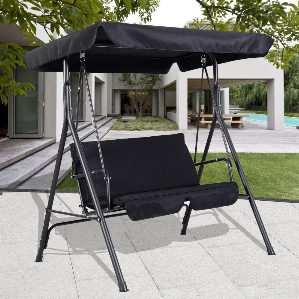 Favorite 2 Person Gray Steel Outdoor Swings Pertaining To 2 Person Black Outdoor Patio Swing Canopy Awning Yard (View 13 of 25)
