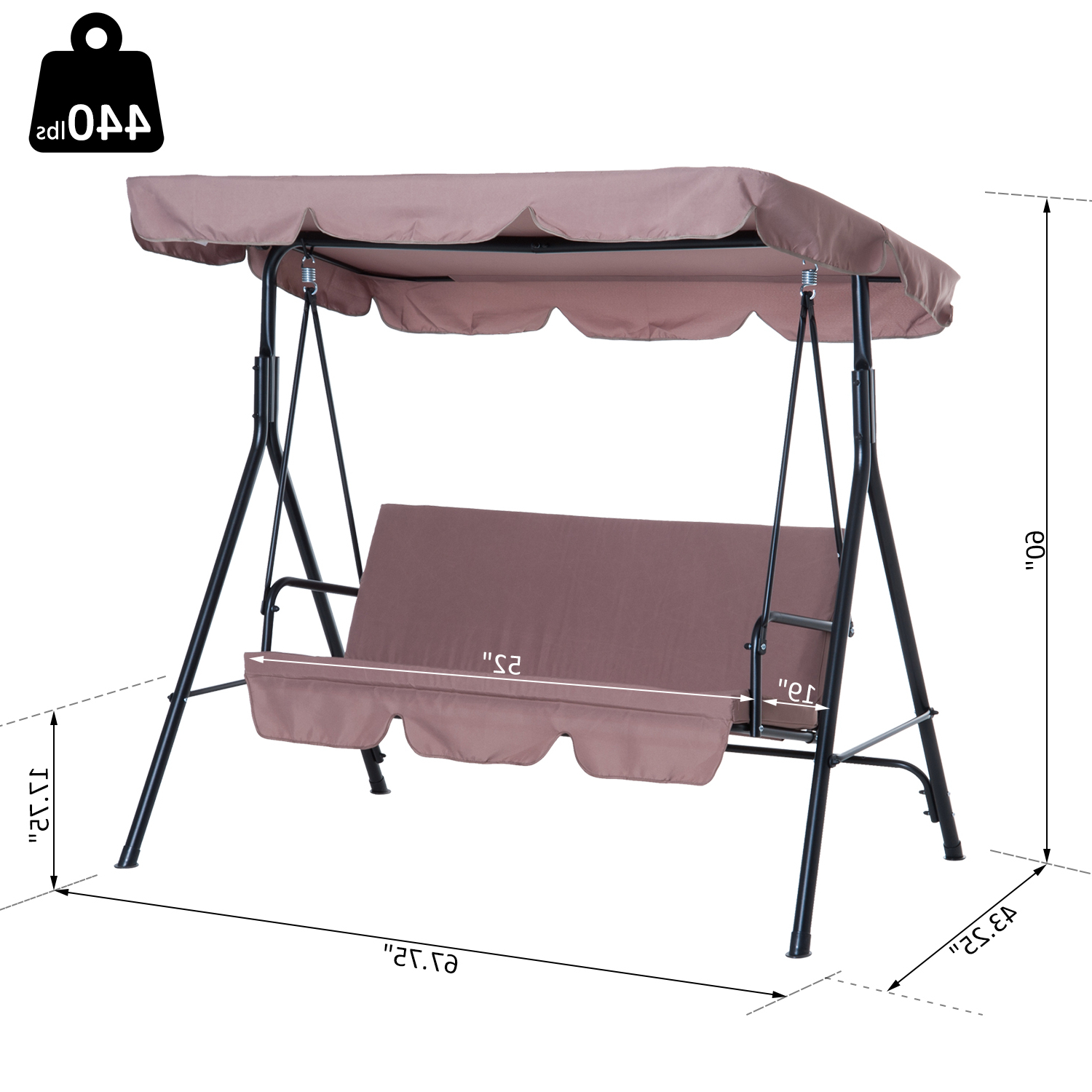 Favorite 3 Person Brown Steel Outdoor Swings Intended For Porch Swing Hammock Bench Lounge Chair Steel 3 Seat Padded Outdoor W/canopy (View 22 of 25)