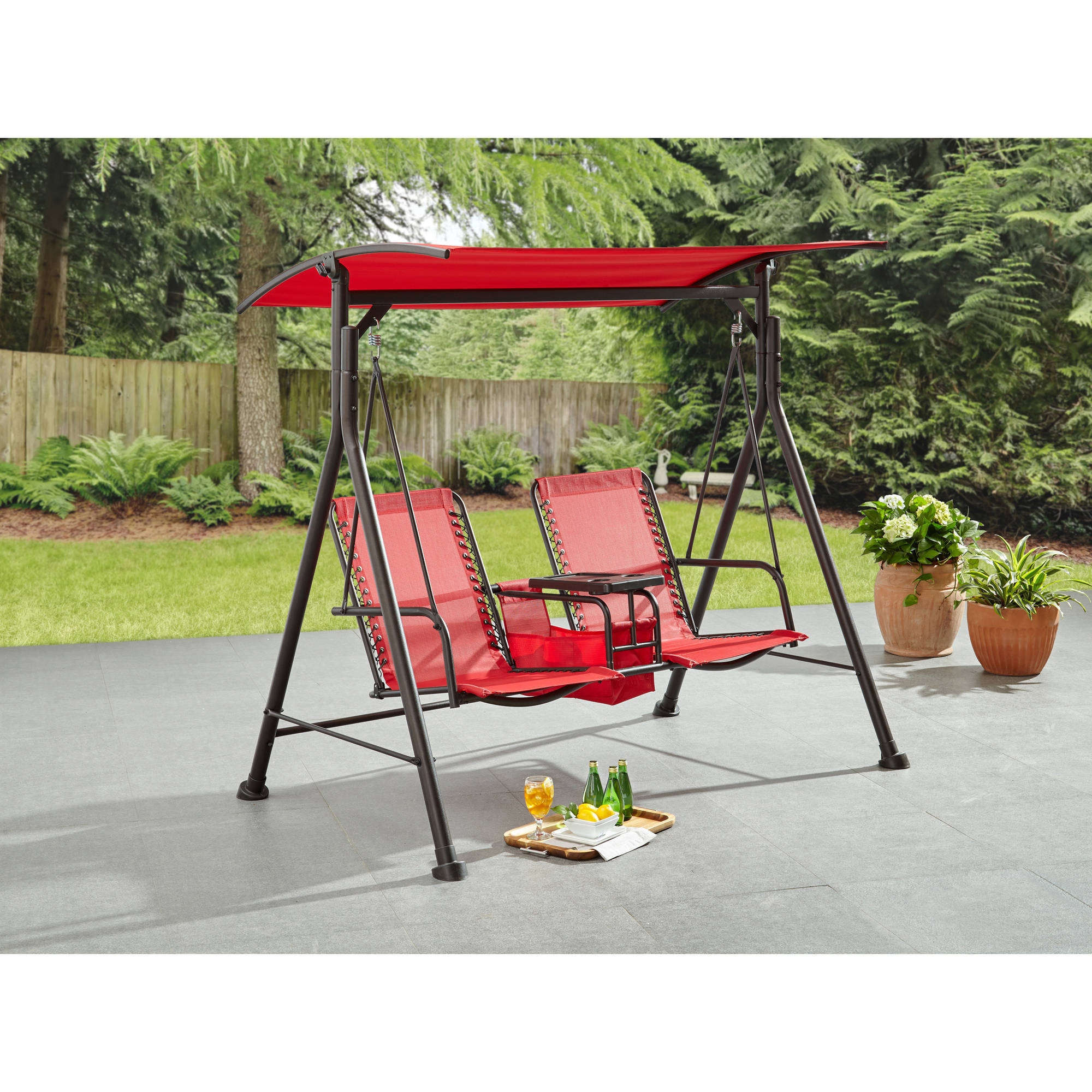 Favorite Canopy Patio Porch Swings With Pillows And Cup Holders With Regard To Mainstays Big And Tall 2 Person Bungee Canopy Porch Swing – Walmart (View 2 of 25)