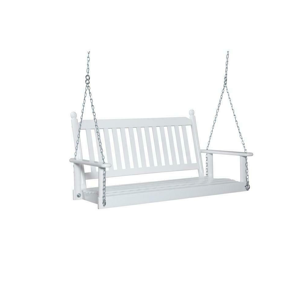 Favorite Porch Swing 2 3 Person Weather Resistant Slatted Back Contoured Seat White For Contoured Classic Porch Swings (View 12 of 25)