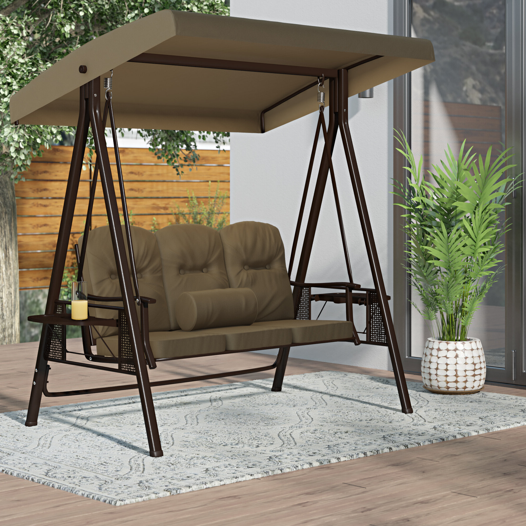 Folkston Outdoor Canopy Porch Swing With Stand For Best And Newest 3 Person Outdoor Porch Swings With Stand (View 25 of 25)