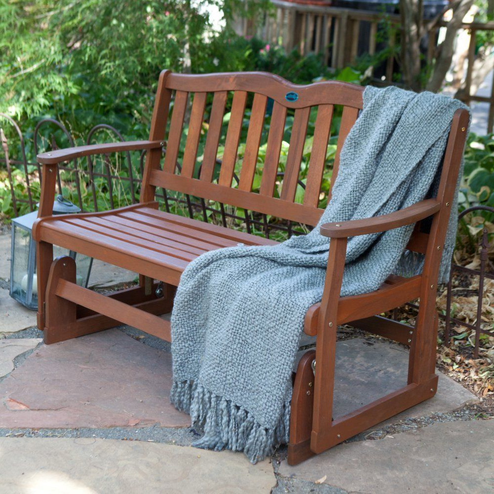 Front Porch Furniture Glider Loveseat Outdoor Patio Swing Inside Best And Newest 2 Person Natural Cedar Wood Outdoor Gliders (View 21 of 25)