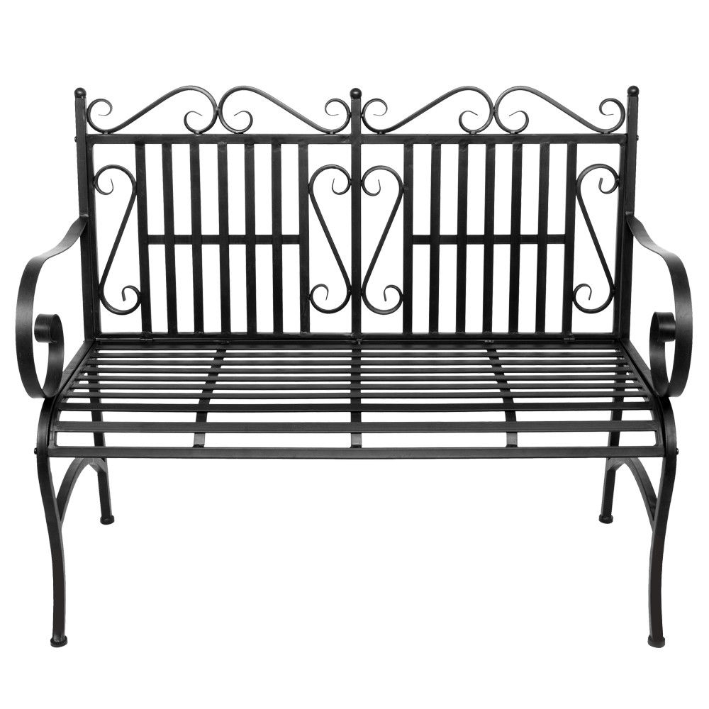 Garden Bench Metal Outdoor Patio Furniture Deck Chair Back Yard Iron Porch Seat Regarding Newest 2 Person Antique Black Iron Outdoor Swings (View 7 of 25)