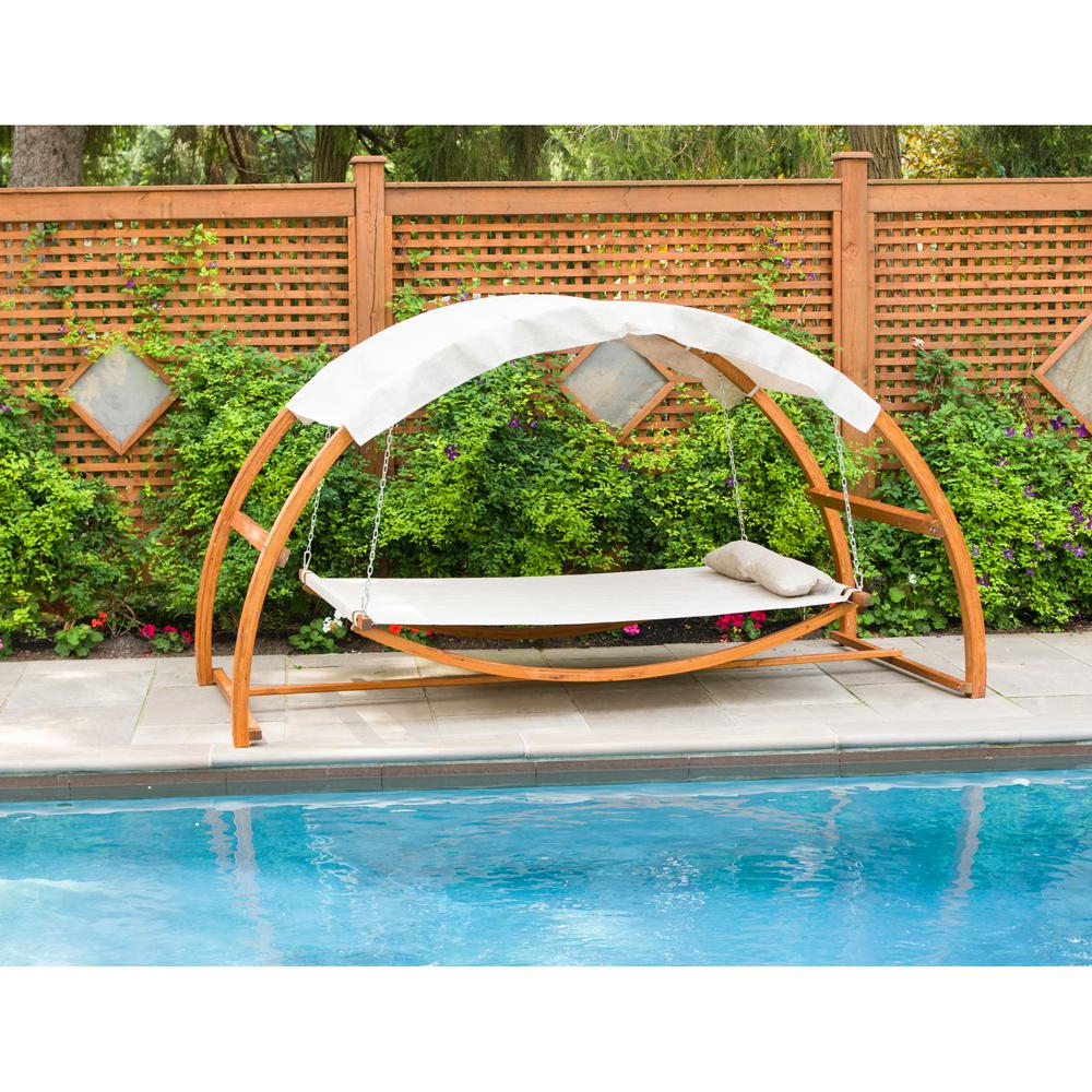 Garden Leisure Outdoor Hammock Patio Canopy Rocking Chairs Regarding Current Leisure Season Patio Swing Bed With Canopy (View 10 of 25)