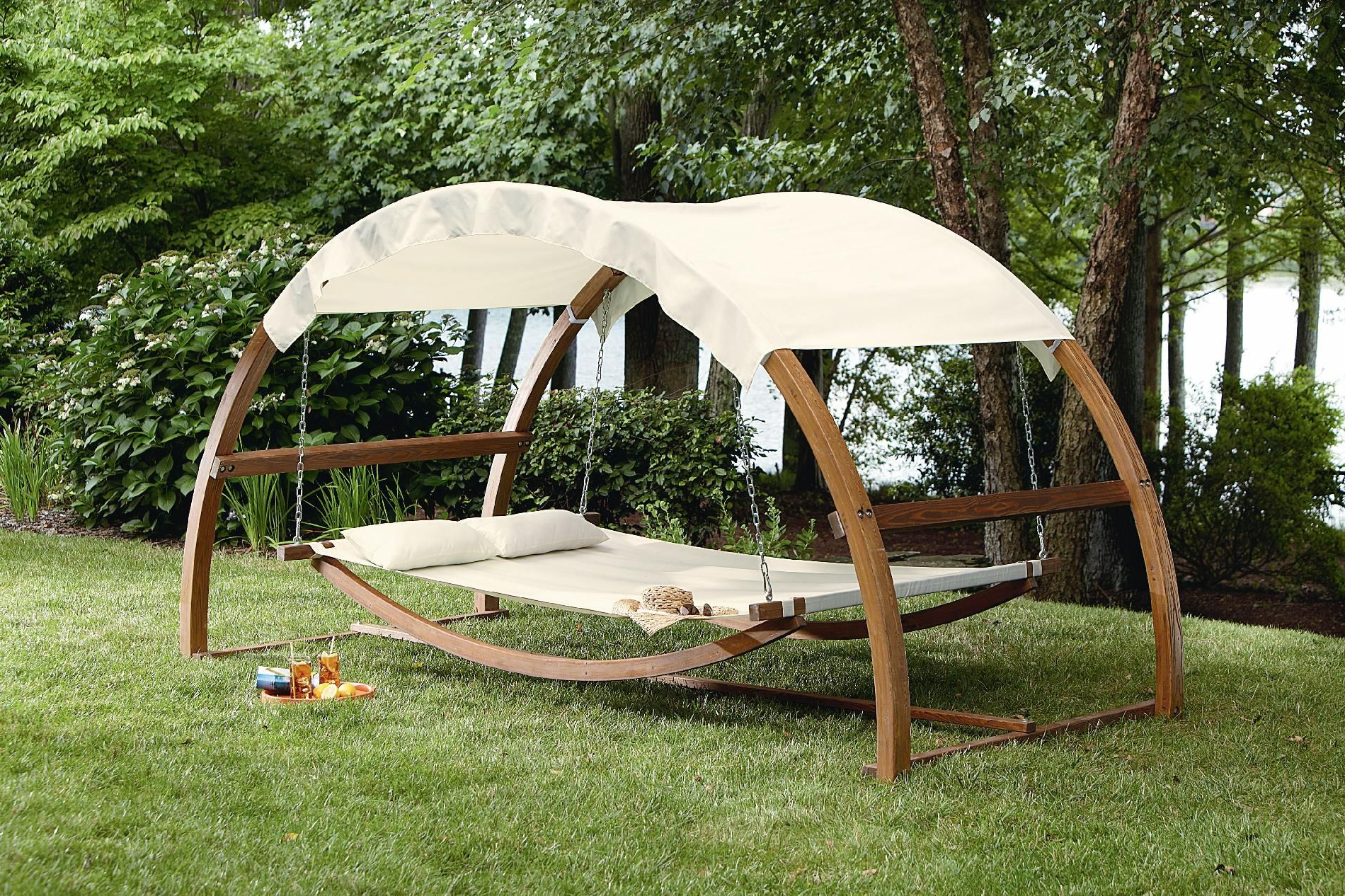 Garden Leisure Outdoor Hammock Patio Canopy Rocking Chairs Throughout Popular I Would Never Come In The House!! Garden Oasis Arch Swing (View 9 of 25)