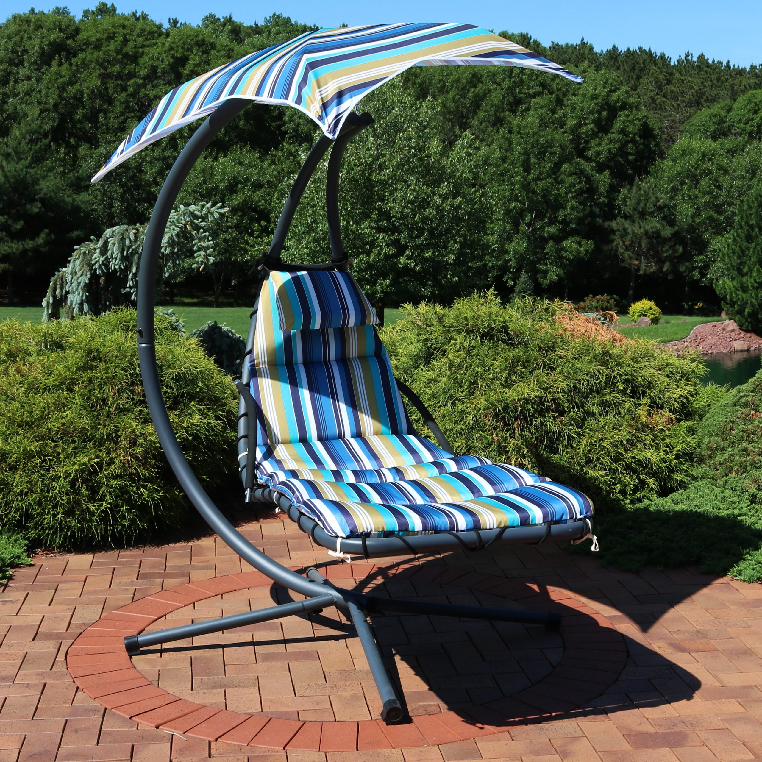 Garden Leisure Outdoor Hammock Patio Canopy Rocking Chairs With Most Current Sunnydaze Floating Chaise Lounger, Outdoor Hanging Hammock (View 24 of 25)