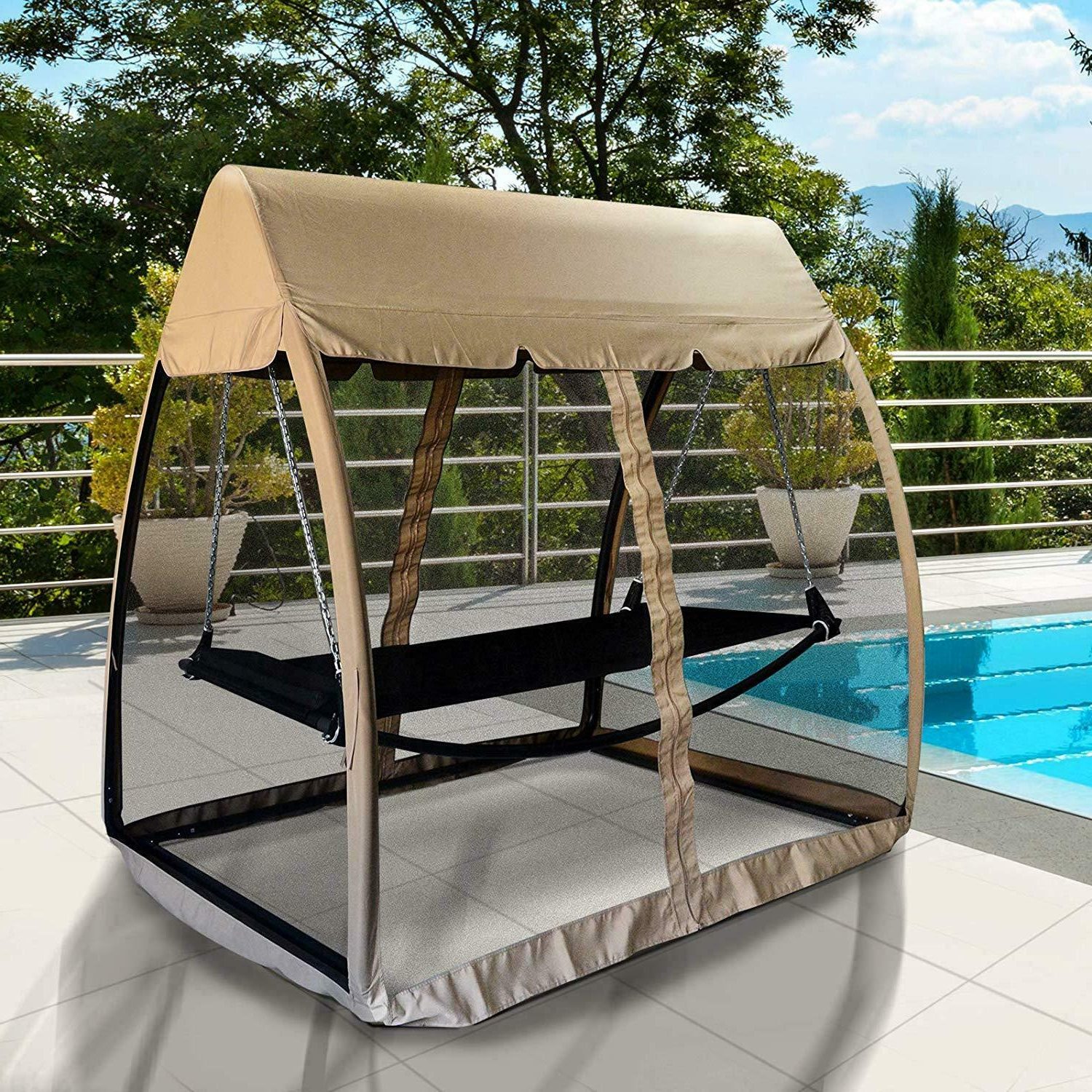Garden Leisure Outdoor Hammock Patio Canopy Rocking Chairs Within Newest 3 Seat Garden Swing Chair 2in1 Outdoor Rocking Bench Daybed Hammock Cover Beige (View 12 of 25)