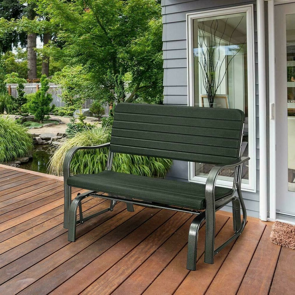 Garden Steel Swing Glider Loveseat Bench Rocking Heavy Duty In Well Known Rocking Love Seats Glider Swing Benches With Sturdy Frame (View 24 of 25)